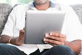 Indian using digital tablet pc