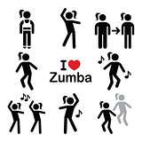 Zumba dance, workout fitness icons set