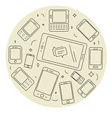 Cell phones and pad circle set