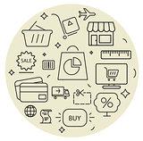 Shopping icons cirle set. Thin line.