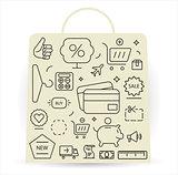 Shopping icons set. Thin line.