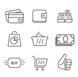 Shopping 9 thin icons set.