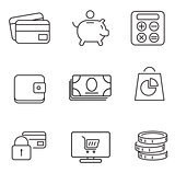 Shopping 9 thin icons set.