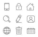 Web icons set. Thin lines simple design