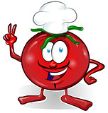 fun tomato chef  cartoon isolated on white background