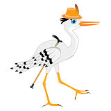 Stork in hat with walking stick