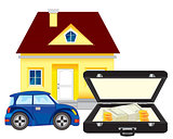 Money and car with house