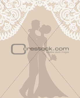 groom and bride on beige background