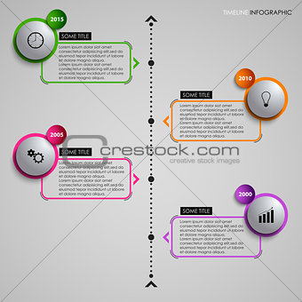 Time line info graphic gray round element template