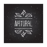Natural product label on chalkboard.