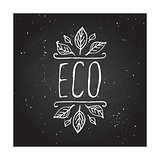 Eco product label on chalkboard.