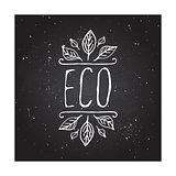 Eco product label on chalkboard.