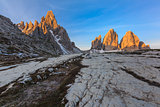 Tre cime di Lavaredo at sunrise, Dolomite Alps, Italy