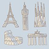 Travel landmarks doodle