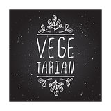 Vegetarian - product label on chalkboard.
