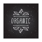Organic - product label on chalkboard.