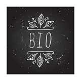 Bio - product label on chalkboard.