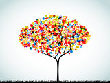 Rainbow Button Background Tree