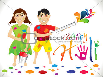 abstract artistic holi cartoon