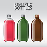 Realistic glass bottles empty transparent set