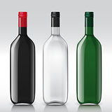 Realistic sample glass bottles empty transparent set