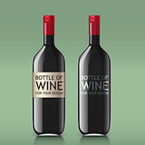 Transparent realistic glass bottles for wine