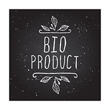 Bio product - label on chalkboard.
