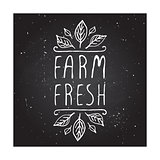 Farm fresh - product label on chalkboard.