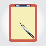 Blank clipboard and pencil isolated on the white background
