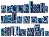 alphabet in mixed letterpress metal type