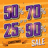 Christmas sale banner. Vector sales discount percentage