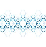 Vector background of blue molecule structure. Medical design