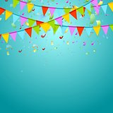 Party flags colorful celebrate abstract background with confetti