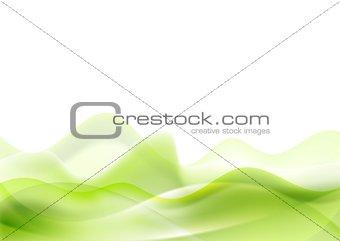 Green shiny waves on white background