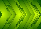 Abstract vector shiny tech background. Green arrows