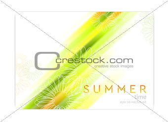 Abstract summer background with glowing stripes and camomiles