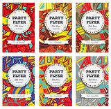 Set of Club Flyers with copy space and hand drawn pattern