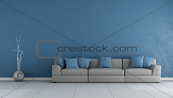 Blue and gray living ropom