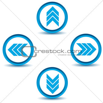 Blue arrows icons set