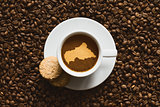 Still life - coffee with map of Central African Republic