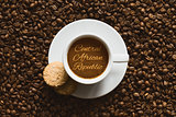 Still life - coffee with text Central African Republic