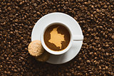 Still life - coffee with map of Colombia