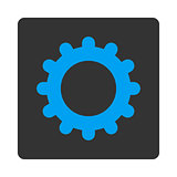 Gear flat blue and gray colors rounded button