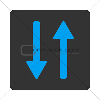 Arrows Exchange Vertical flat blue and gray colors rounded button