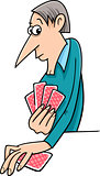 man playing cards cartoon
