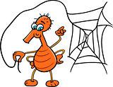 spider with web cartoon