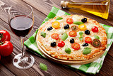 Italian pizza and red wine
