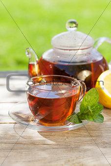 Breakfast tea on table in garden