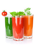 Fresh vegetable smoothie. Tomato, cucumber, carrot