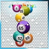 Bingo balls breaking a white 3D circular tiles wall
